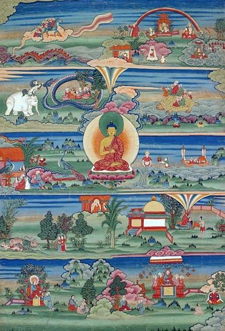 Pintura butaneses de los jataka, mostrando la reencarnación.  Phajoding Gonpa, Thimphu, Bután