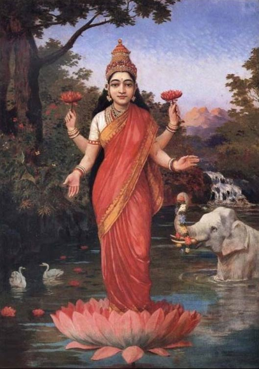 Molte piante e gli alberi sono stati elevati al regno del sacro, come il fiore di loto in Induismo.  La dea indù Lakshmi possesso & amp;  in piedi su un loto, dipinto Raja Ravi Varma.