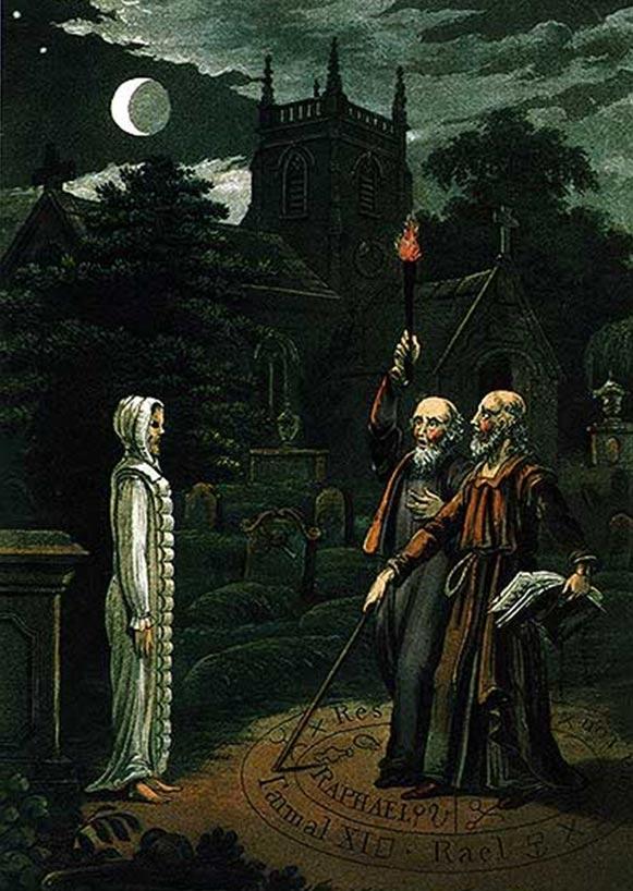 Necromanzia: L'arte di evocare i morti e comunicare con loro, l'immagine di John Dee e Edward Kelley.  Da Astrologia (1806) da Ebenezer Sibly.