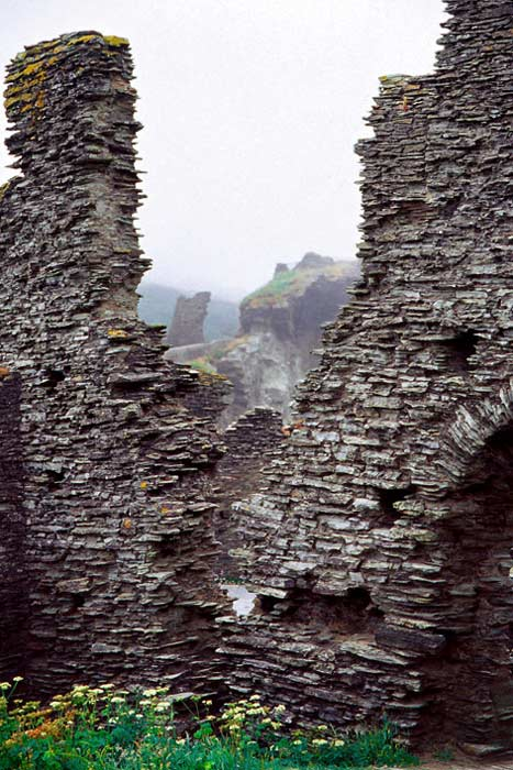 Ruins at Tintagel, England.