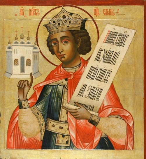 icono ruso del rey Salomón.  Se le representa con un modelo del Templo (siglo 18, iconostasio del monasterio de Kizhi, Rusia).