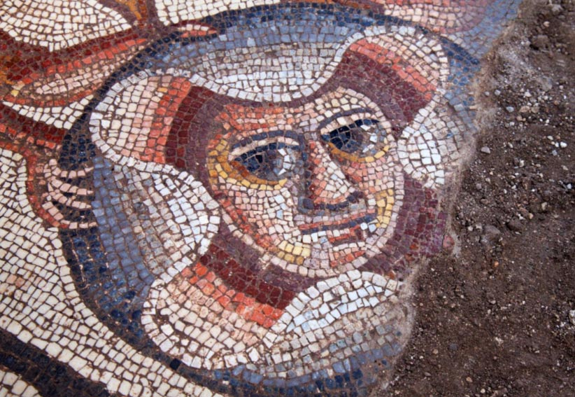 Theater Mask discovered in 2015, Huqoq, Galilee region, Israel.