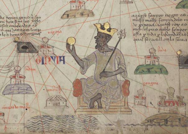Musa representado sosteniendo una moneda de oro del 1375 Atlas Catalán.
