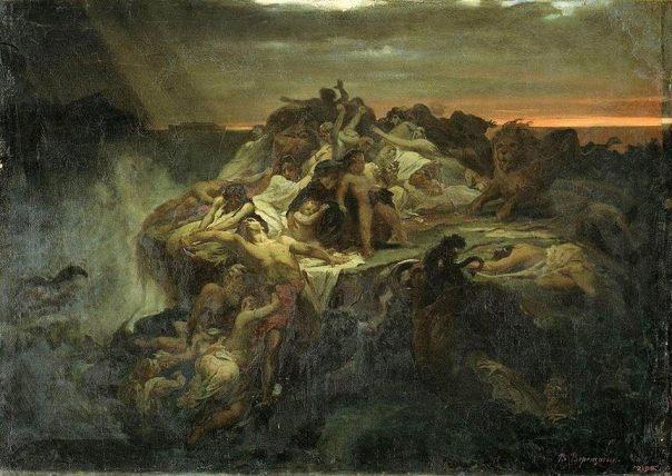 El gran diluvio, una inundación global.  (1869).