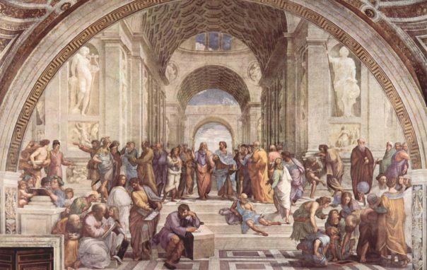 La Escuela de Atenas, fresco de Rafael (1509-1510), de una Academia idealizado.