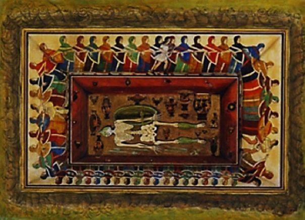 Acuarela del siglo 19 de la Tumba de los bailarines.