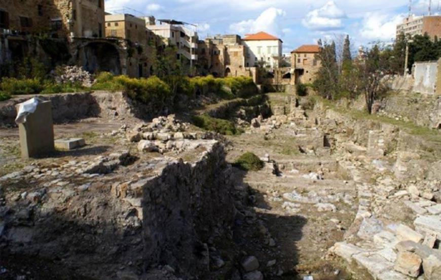 Sitio arqueológico en Sidón, Líbano, donde una habitación oculta fue descubierto recientemente.