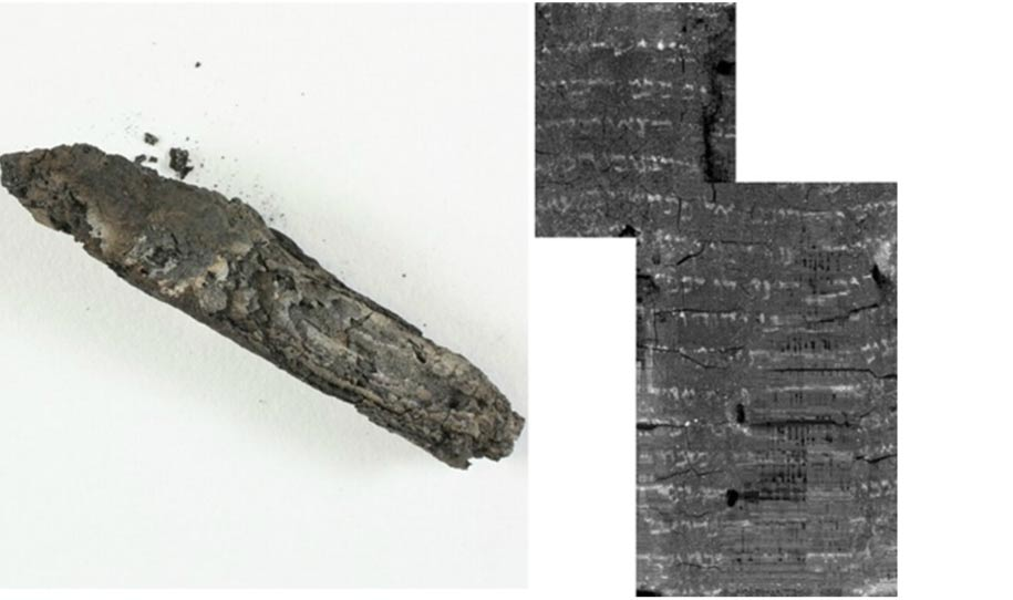 The charred scroll and its virtually unwrapped image with biblical text.
