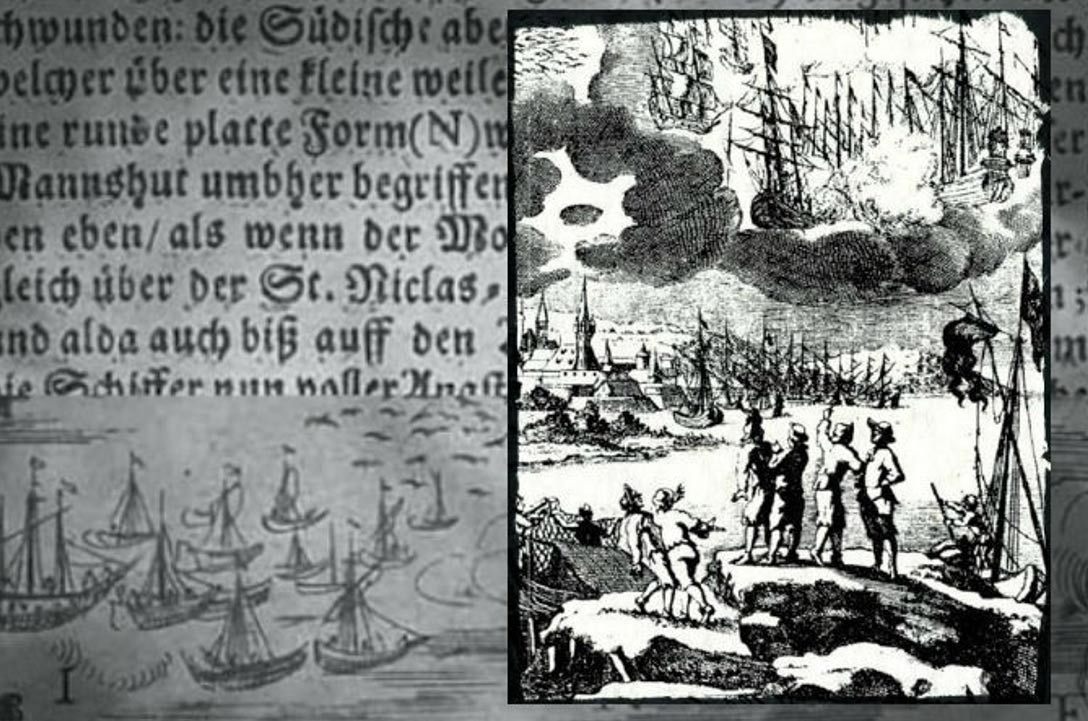 A 1680 engraving accompanying a description by Erasmus Francisci of a battle between ships in the sky said to take place in 1665. {image source:  ancient-origins.net}