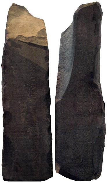"""Les côtés gauche et droit de la pierre de Rosette, contenant les faibles inscriptions anglaises disant: (L) """"Capturé en Egypte par l'armée britannique en 1801"""" (R) """"Présenté par le roi George III.""""  (Captmondo / CC BY SA 3.0)"""