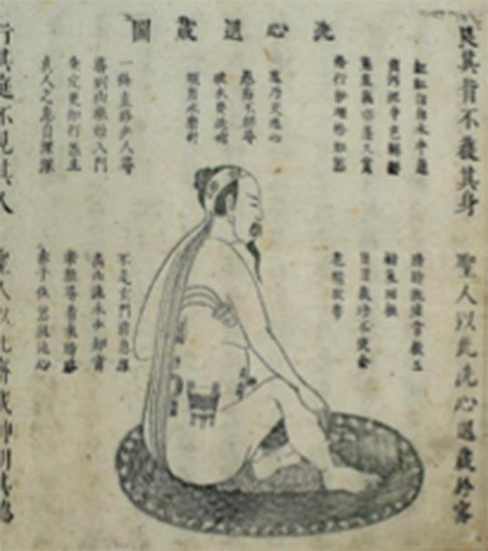 Illustration chinoise sur bois de Neidan «Nettoyer l'esprit du cœur et se retirer dans la dissimulation», 1615 Xingming guizhi 性命 圭 旨 (Pointeurs sur la nature spirituelle et la vie corporelle).  (Images de bienvenue / CC BY 4.0)