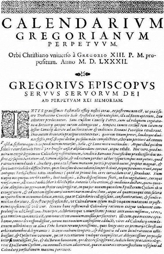 "La prima pagina della bolla papale ""Inter Gravissimas"" con cui Papa Gregorio XIII introdusse il suo calendario."