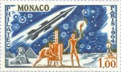 A stamp depicting the hydraulic telegraph in use