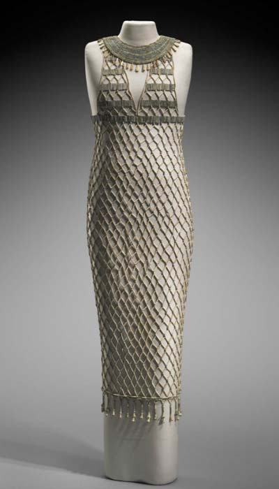 The stunning bead-net dress currently on display in the Boston Museum.