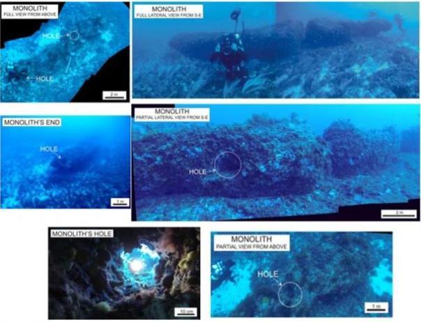 Descubrimiento Submarino: Los seres humanos la edad de piedra tallada Precisamente una de 15 toneladas de piedra Pilar