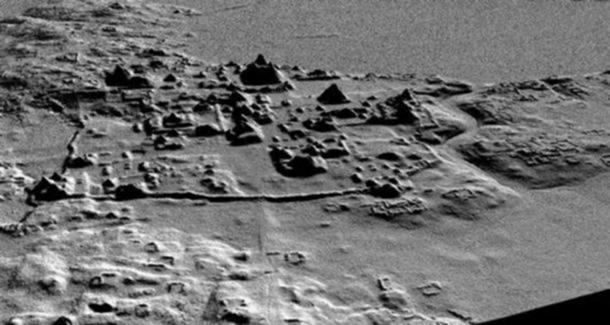 Una scansione LIDAR in precedenza che ha rivelato una rete di strade, canali, recinti, piramidi, e le terrazze a El Mirador. Credit: Progetto Archeologico Cuenca Mirador.