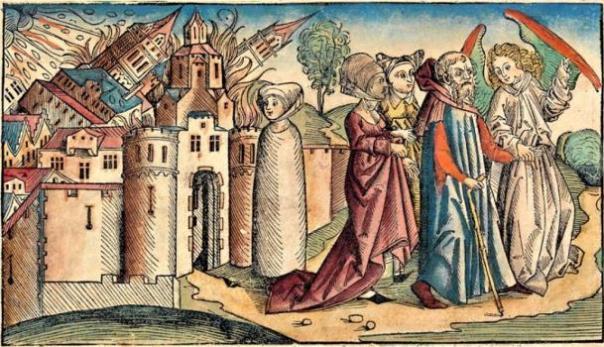 Los ángeles guían Lot y su familia de Sodoma, mientras su esposa se convirtió en una estatua de sal para la observación de la destrucción de la ciudad