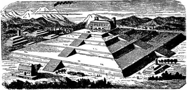 Interpretación del artista de lo que la Gran Pirámide de Cholula puede haber parecido en su mejor momento.