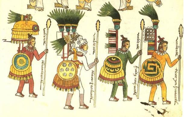 Illustration des guerriers aztèques trouvés dans le Codex Mendoza