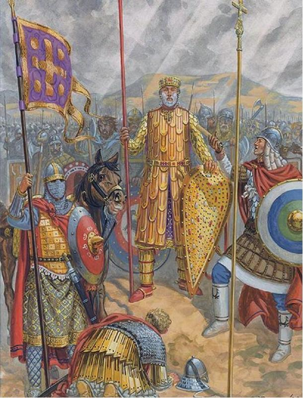 Basil II was known as the Bulgar Slayer, is depicted in full armor at the Georgian Camp, 1020.