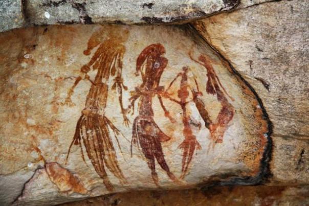 Bradshaw pinturas de la roca encontrado en la región de Kimberley al noroeste de Australia Occidental.
