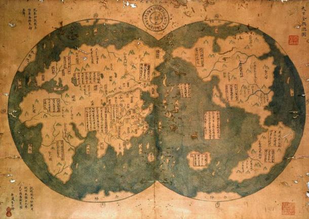Riproduzione di una presunta mappa cinese del 1418 che mostra alcune delle Americhe