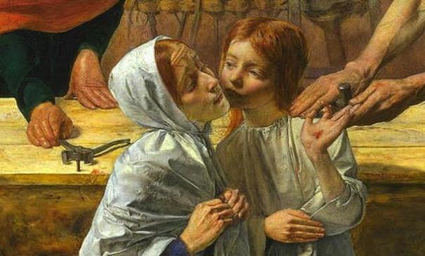 """En esta representación de """"Cristo en casa de sus padres"""", de John Everett Millais (carpintería en el fondo) Jesús se muestra como un niño justo, pelirrojo."""