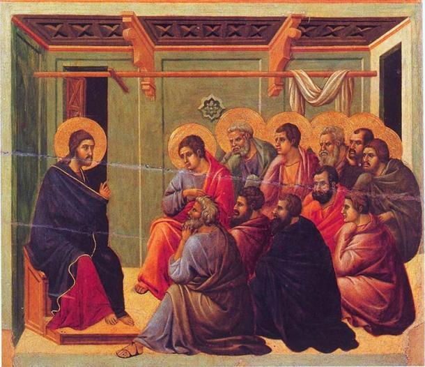 Cristo si congeda dagli Apostoli dal Vangelo di Giovanni (dominio pubblico)