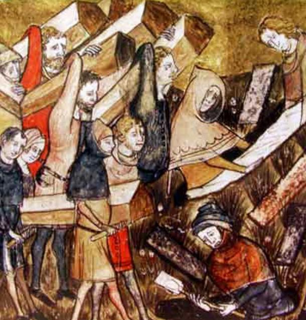 I cittadini di Tournai, in Belgio seppelliscono appestati.