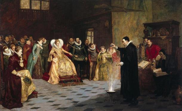 John Dee effettuando un esperimento prima della verniciatura regina Elisabetta I. Olio da Henry Gillard Glindoni.  1913