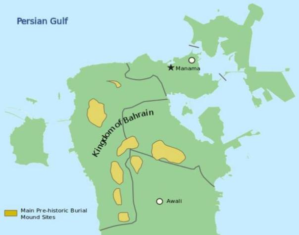 Localización de Dilmun túmulos en Bahrein.