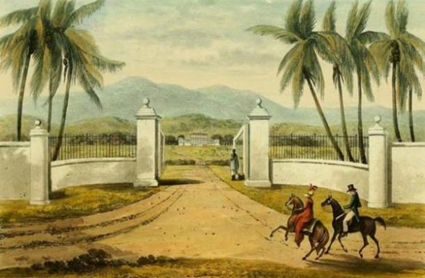 Gravure tirée de 'A Pittoresque Tour of the Island of Jamaica' de James Hakewill (dessins réalisés dans les années 1820 et 1821), elle montre le Rose Hall Estate.