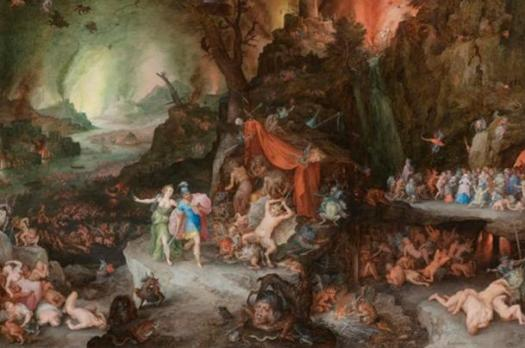 """Entrance to Hades, a depiction of a subterranean underworld populated by strange creatures, surreal landscapes, and supernatural gods."" Aeneas and the Sibyl in the Underworld (Jan Brueghel, ca. 1600, oil)."