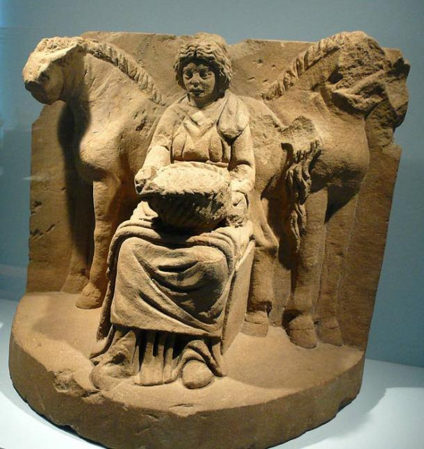 Epona and her horses, from Köngen, Germany, about 200 AD.