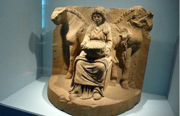 """Epona, a resulting goddess from the Gallo-Roman fusion, was """"the sole Celtic divinity ultimately worshipped in Rome itself."""" Epona and her horses, from Köngen, Germany, About 200 AD"""