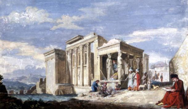 The Erechtheion, the west end of the Temple of Minerva Polias and the Pandrosium on the Acropolis