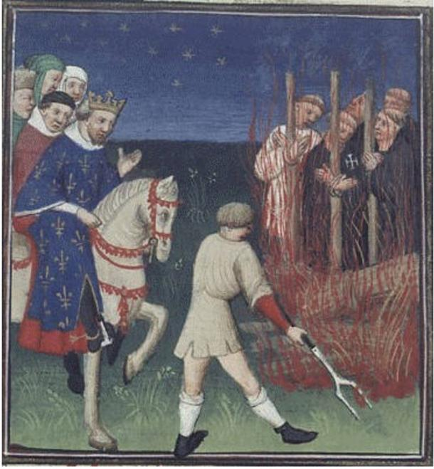 Execution of the Templars in the presence of Philip 'the Fair'. Bedford Master 1415-1420, France.