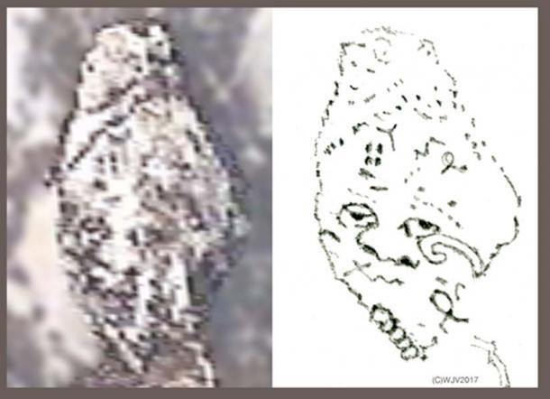 FIGURE 10 et 10a Quelle découverte incroyable! Entièrement sculptée dans la roche blanche, cette tête humaine de forme ovale est ornée d'un regard effrayant aux yeux ronds, marqué par des symboles anciens. Les points dans un cercle autour d'un motif central sont typiques de la fin du 13ème siècle av. Mycénien. (Taille 44 mètres de haut x 33 mètres de large).
