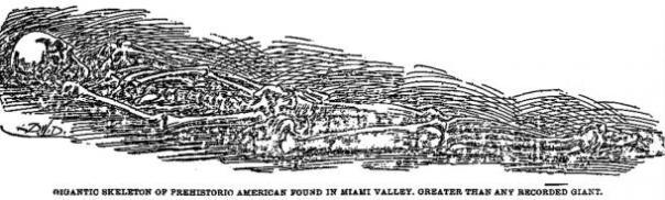 Figura 11: Ilustración de más de 8 pies esqueleto descubierto cerca de Miamisburg.