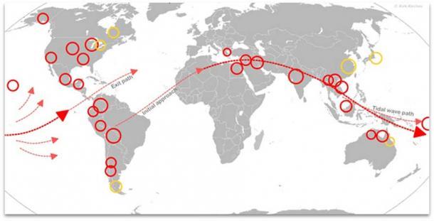 Posizioni di Myth Flood (cerchiate) con terreno tracciato e percorso delle maree suggerito. (L'autore ha fornito)