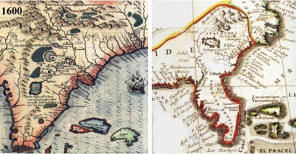 Izquierda: Francesa Mapa que demuestra los lugares Apalachites (Apalache) en el Sur.  Derecha: Español Mapa que demuestra los lugares Apalachites (Apalache) en el Sur.