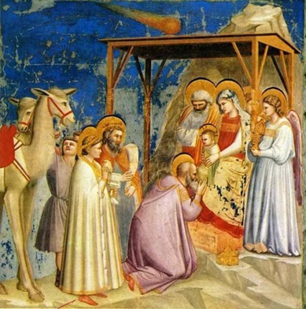 Adorazione di Giotto degli Scrovegni dei Magi raffigurata la stella di Betlemme come una cometa.