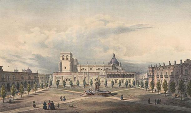 La cathédrale de Guadalajara en 1836.