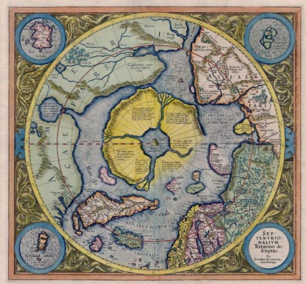 The arctic continent or Hyperborea as shown in the Gerardus Mercator Atlas of 1595