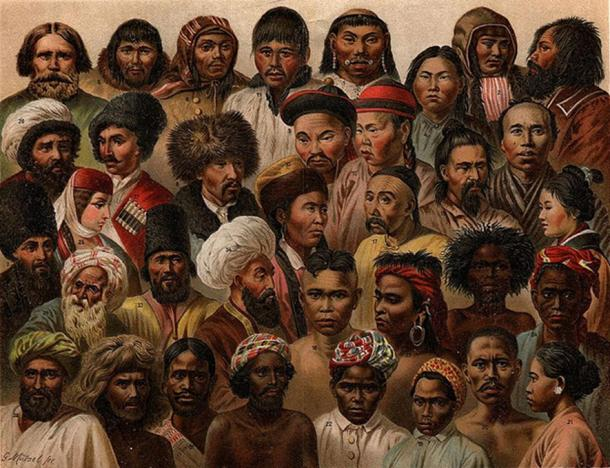 Illustration of ethnic types from Eurasia. Nordisk Familjebok, 1904