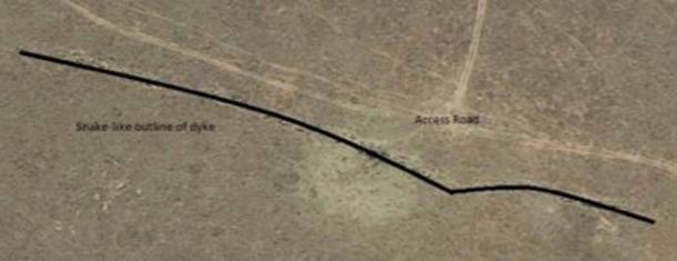 Immagine che mostra il profilo della diga dove sono state trovate le incisioni. (Dr. Matthew Huber / Università dello Stato libero)