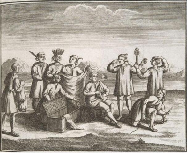 Iroquois nativi americani impegnati nel commercio con gli Europei, 1722.