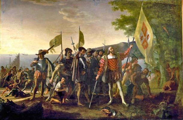 Atterraggio di Columbus in the Americas 1492. (Davepape / Dominio pubblico)