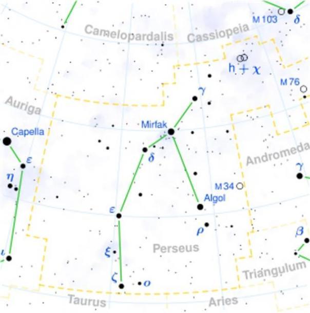 Localización de Algol en la constelación de Perseo.