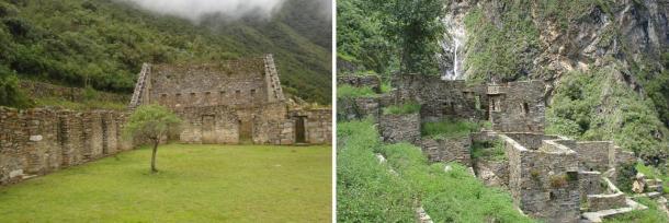 Izquierda: la plaza principal en Choquequirao.  Derecha: Restos de casas incas en Choquequirao